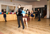 Moscow, December 21,2014: Unidentified Professional dance couple performs Adult Latin-American program on Ballroom Competition in December 21, 2014 in Moscow — Stock Photo