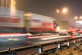 Obstruction concept in night traffic street at the Moscow Automobile Ring Road (MKAD) — Stock Photo