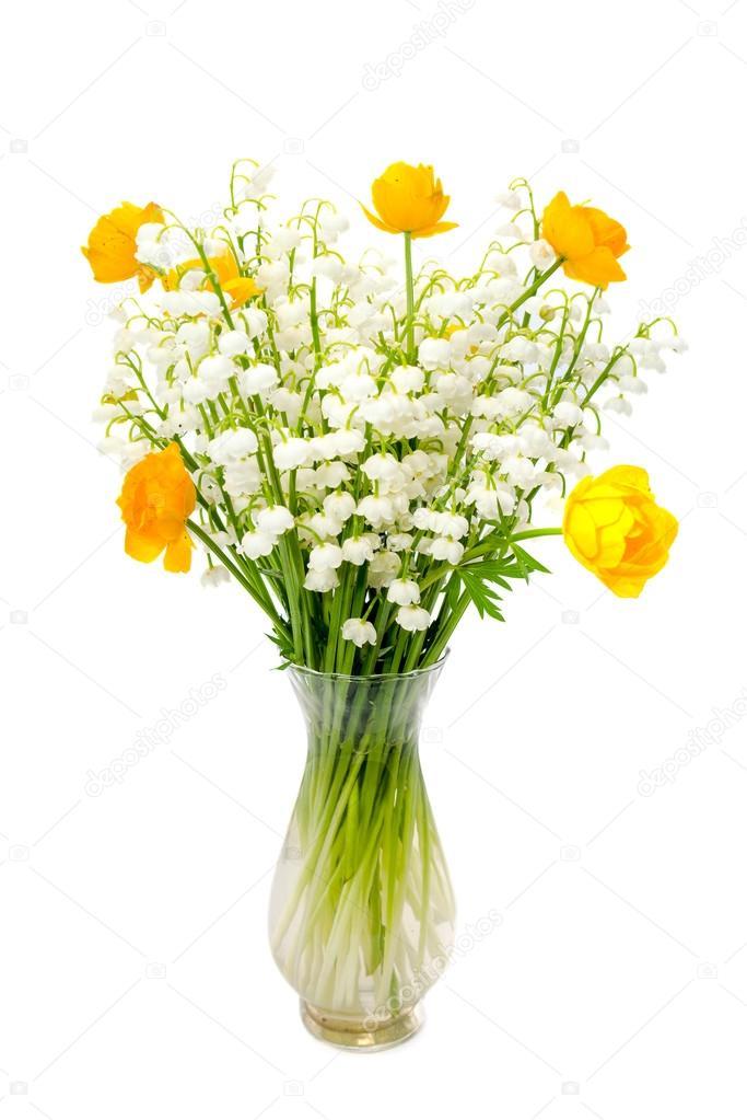 Bouquet de fleurs du monde entier et le muguet isol sur for Bouquet de fleurs muguet
