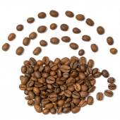 A coffee beans arranged like a cup of coffee with wifi symbol — Stock Photo