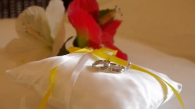 Gold wedding rings on the pincushion — Stock Video
