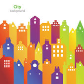 Abstract city buildings - business card - blank background — Vetor de Stock