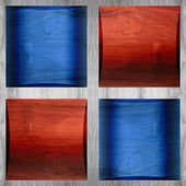 Wooden coffered paneling - seamless pattern - red-blue color — Stock Photo