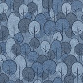 Abstract decorative trees - seamless pattern, blue jeans textile — Stock Photo