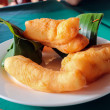 Deep-fried dough stick, patongko is chinese dessert with egg cus — Stock Photo #63882657