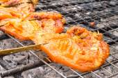 Grilled chicken on flame, thai food — Stock Photo