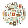 Round design element with books icons — Stock Vector #53090477