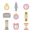 Set of colorful clock icons — Stock Vector #53090631