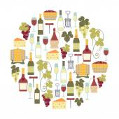 Round design element with wine icons — Stock Vector