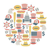 Round design element with USA icons — Stockvector