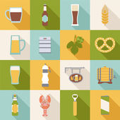 Set of flat beer icons — Stock Vector