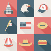 Set of flat USA icons — Stock Vector