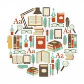 Round design element with books icons — Vector de stock