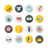 Shopping icons with shadows — Stock Vector