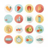 Set of round healthy life icons — Vector de stock