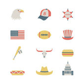 Set of colorful USA icons — Stock Vector