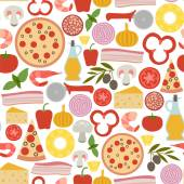 Seamless pattern with pizza icons — Stock Vector