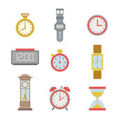 Set of colorful clock icons — Stock Vector