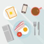 Breakfast. egg, coffee, bacon, toast — Stock Vector
