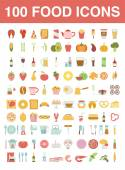 Large set of food and cooking icons — Stock Vector