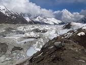 Frozen lakes on the Ngozumba Glacier — Stock Photo