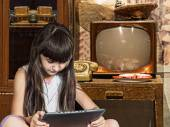 Caucasian child kid girl sister in old home with tablet pc — Stock Photo