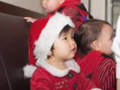 Asian children babies girls together at celebration Christmas — Stok fotoğraf