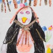 Children drawing multicolored penguin — Stock Photo #67733317