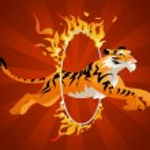 Tiger jumping through  hoop — Stock Vector #78817064