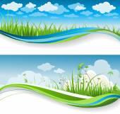 Zomer gras banners — Stockvector
