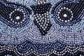 Face of Owl Embroided in Beads on Scatter Cushion — Stock Photo