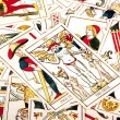 Bright Colorful Collection of Scattered Tarot Cards — Fotografia Stock  #58845985