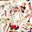 Large Collection of Scattered Colored Tarot Cards — Fotografia Stock  #58846237