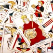 Large Scattered Collection of Colorful Tarot Cards — Fotografia Stock  #58846515