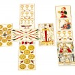 Tarot Cards Set Out in the Celtic Cross Spread — Stock Photo #58846997