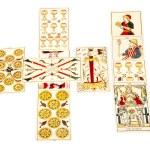 Tarot cartas constam a propagação da cruz celta — Fotografia Stock  #58846997