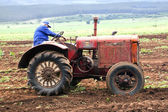 Vintage Red Tractor Being Demonstrated on Farm — Stock Photo