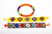 Two Brightly Colored Zulu Wristbands with Beaded Armband — Stock Photo