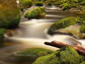 Broken trunk on blocked at stream bank above bright blurred waves. Big mossy boulders in clear water of mountain river. — Stock Photo