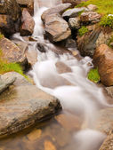 Stony mountain stream in Alpine hill. Misty and rainy weather, fresh color of herbs and flowers. Slipper big stones on banks. — Stock Photo