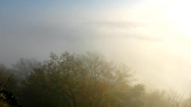 Magnificent heavy mist in landscape. Autumn fogy sunrise in a countryside. Hill increased from fog, the fog is colored to gold and orange — Stock Video