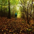 Man walking in dark misty forest in autumn — Stock Photo #56852339