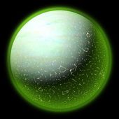 Illustration of a strange planet in space. Fantasy planet somewhere in darkness — Stock Photo