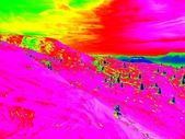 Winter ski region in Alps, free terrain at slope. Infra red photography of snowy landscape in sunny day. — Stock Photo