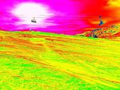 The cab lift above slope in Alps ski region. Sunny winter day, huge of snow. Infrared photo in magic thermography colors. — Stock Photo