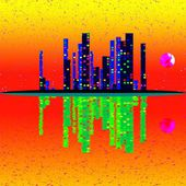 Scan of night cityscape illustration with buildings on island. Grunge background in amazing thermography colors. — Stock Photo