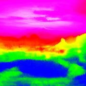Fantastic infrared scan of rocky  landscape, pine forest with colorful fog, hot sunny sky above. Grunge background in thermography colors. — Stock fotografie