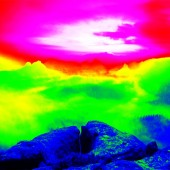 Fantastic infrared scan of rocky  landscape, pine forest with colorful fog, hot sunny sky above. Grunge background in thermography colors. — Stok fotoğraf