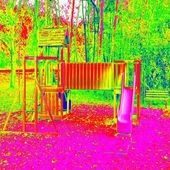 Children playground in amazing thermography colors. Wooden equipment for children plays, gym, entertaimen. — Stock Photo