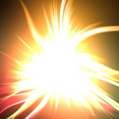 Colorful vivid explosion with blurred rays in dark space, huge misty energy release in black background — Stock Photo